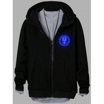 Luminous Skull Dragon Zip Up Hoodie - BLACK XL