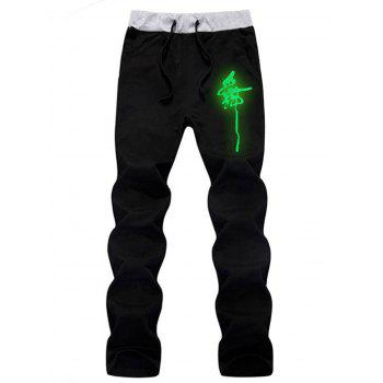 Wolf Graphic Luminous Print Hoodie and Pants Twinset - BLACK L