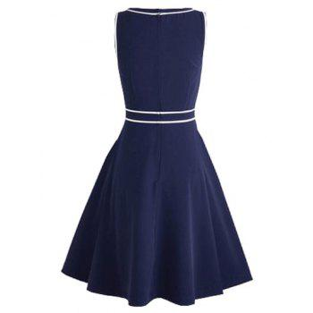 Vintage Buttoned Pinup Swing Dress - DEEP BLUE L