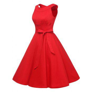 Vintage Belted Pin Up Swing Dress - RED S