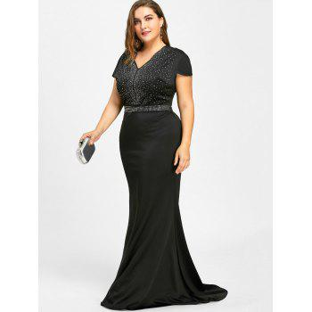 Rhinestone Embellished Plus Size Maxi Dress - BLACK 3XL