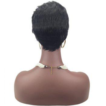 Side Deep Curled Bang Layered Short Straight Pixie Perruque synthétique - Noir