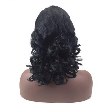 Side Parting Medium Towheaded Wavy Synthetic Wig - BLACK