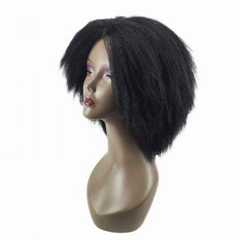 Medium Center Parting Bouffant Kinky Straight Synthetic Wig - Noir