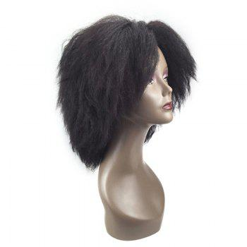 Medium Center Parting Bouffant Kinky Straight Synthetic Wig - gris foncé