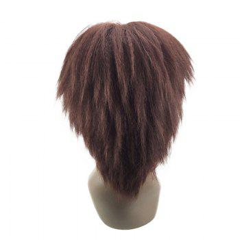 Medium Center Parting Bouffant Kinky Straight Synthetic Wig - BRUN