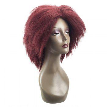Medium Center Parting Bouffant Kinky Straight Synthetic Wig - RED