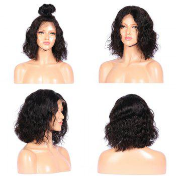 Middle Part Shaggy Medium Natural Wavy Synthetic Lace Front Wig - BLACK BLACK