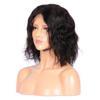 Middle Part Shaggy Medium Natural Wavy Synthetic Lace Front Wig -  BLACK