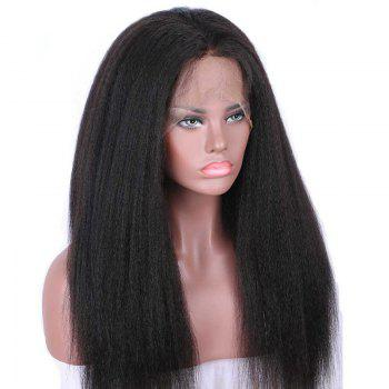 Long Free Part Fluffy Kinky Straight Synthetic Lace Front Wig -  BLACK