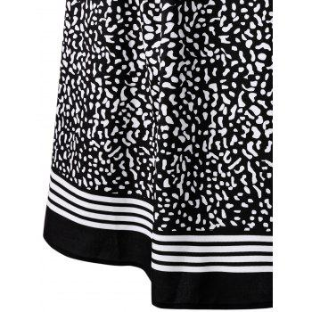 Plus Size Dot Print Long Sleeve Surplice Dress - BLACK 3XL