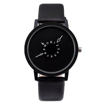 Number Round Faux Leather Strap Watch - BLACK BLACK