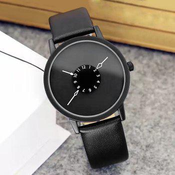 Number Round Faux Leather Strap Watch -  BLACK