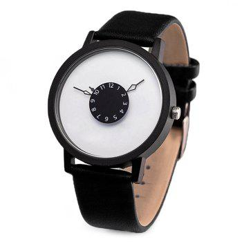 Number Round Faux Leather Strap Watch - BLACK WHITE BLACK WHITE