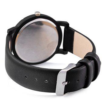 Number Round Faux Leather Strap Watch - BLACK WHITE