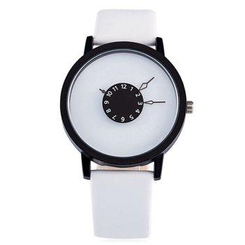 Number Round Faux Leather Strap Watch - WHITE WHITE