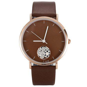 Gear Pattern Faux Leather Strap Quartz Watch - BROWN BROWN
