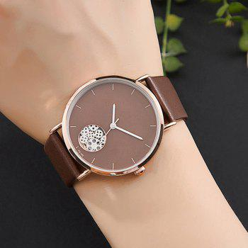 Gear Pattern Faux Leather Strap Quartz Watch -  BROWN