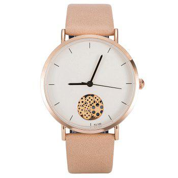 Gear Pattern Faux Leather Strap Quartz Watch - YELLOWISH PINK YELLOWISH PINK