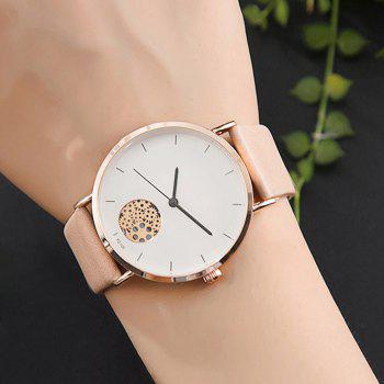 Gear Pattern Faux Leather Strap Quartz Watch -  YELLOWISH PINK