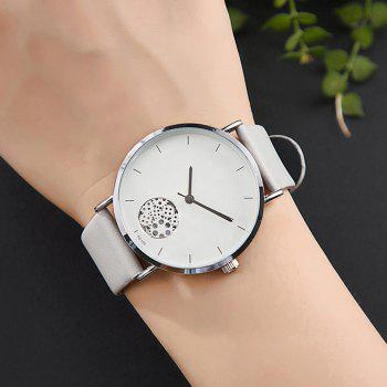 Gear Pattern Faux Leather Strap Quartz Watch - LIGHT GRAY