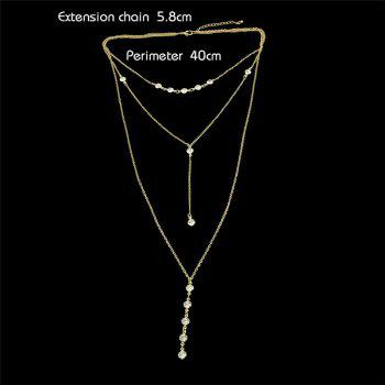Pendentif En Cristal Long Collier En Couches - Or