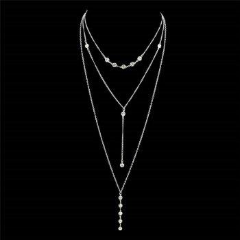 Crystal Long Pendant Layered Necklace - SILVER SILVER