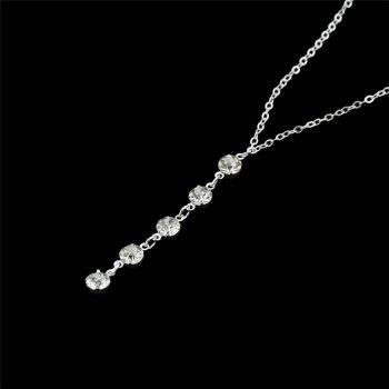 Crystal Long Pendant Layered Necklace -  SILVER