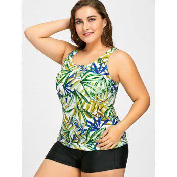 Plus Size Leaf Print Tankini Set - 4XL 4XL