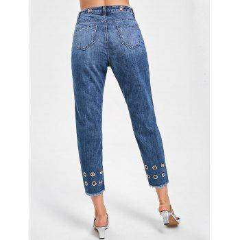 Eyelets Decorated Raw Hem Capri Jeans - 2XL 2XL