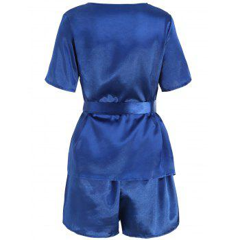 Plunge Top with Shorts Satin Pajama Suit - DEEP BLUE DEEP BLUE