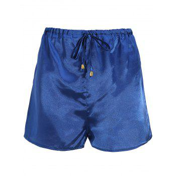 Plunge Top with Shorts Satin Pajama Suit - DEEP BLUE M