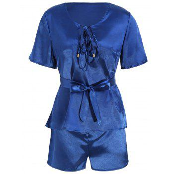 Plunge Top with Shorts Satin Pajama Suit - DEEP BLUE S