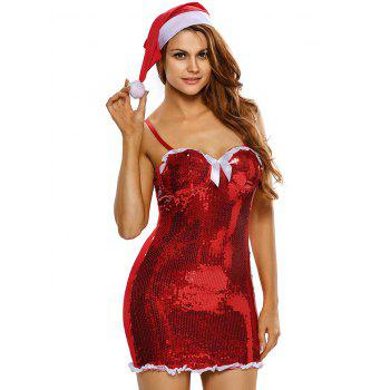 Bodycon Sequined Cami Christmas Costume - RED RED
