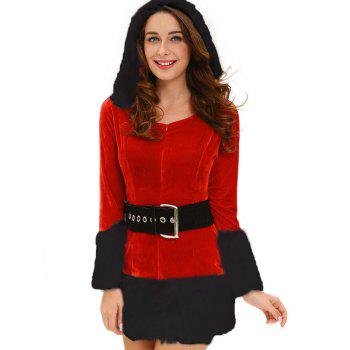 Faux Fur Trim Hooded Christmas Costume - RED ONE SIZE