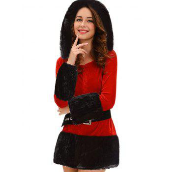Faux Fur Trim Hooded Christmas Costume - RED RED