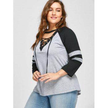 Plus Size Lace Up Raglan Sleeve T-shirt - BLACK/GREY 4XL