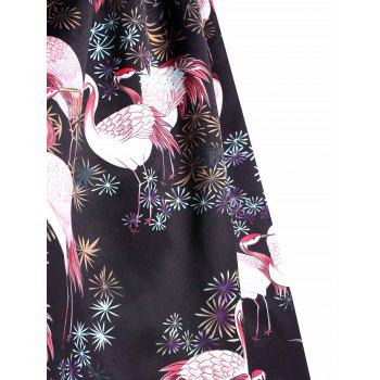 Plus Size Red-crowned Crane Print Scalloped Dress - BLACK 5XL