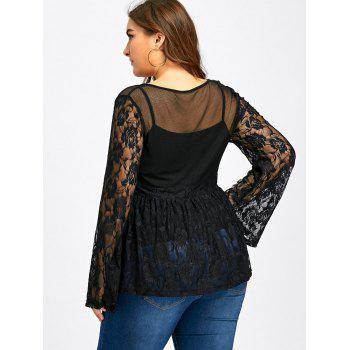 See Thru Bell Sleeve Lace Blouse With Cami Top - BLACK 5XL