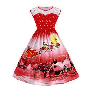 Plus Size Lace Panel Christmas Snow Vintage Ball Dress - RED RED