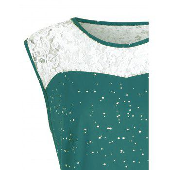 Christmas Plus Size Lace Insert Sleeveless Party Dress - GRASS GREEN XL