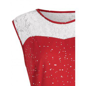 Christmas Plus Size Lace Insert Sleeveless Party Dress - RED XL