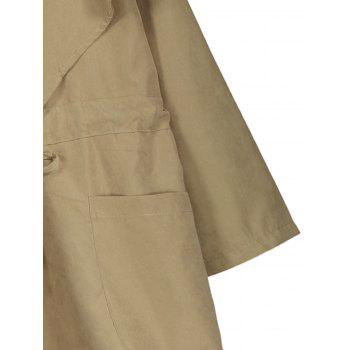 Hooded Plus Size Drawstring Coat - KHAKI XL