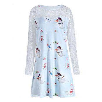 Plus Size Christmas Snowman Printed Lace Sleeve Dress - CLOUDY CLOUDY