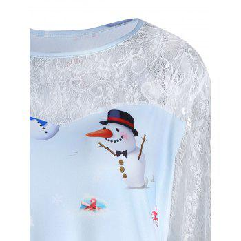 Plus Size Christmas Snowman Printed Lace Sleeve Dress - CLOUDY 5XL