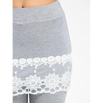 Lace Trim Marled Skirted Leggings - GRAY M