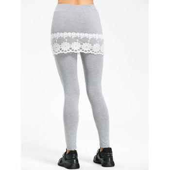 Lace Trim Marled Skirted Leggings - GRAY L