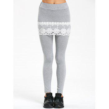 Lace Trim Marled Skirted Leggings - GRAY 2XL