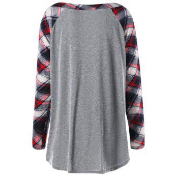 Plus Size Raglan Sleeve Plaid Top - LIGHT GRAY 5XL