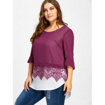 Plus Size Swiss Dot Lace Trim Blouse - PURPLISH RED XL